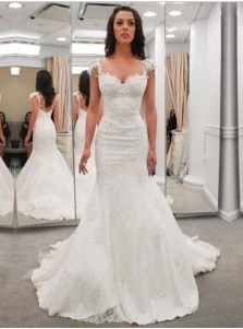 Modern Sweetheart Cap Sleeves Lace Appliques Open Back  Mermaid Wedding Dress