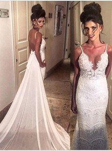 Mermaid Spaghetti  Beading  Open Back Lace Wedding Dresses  with Court Train