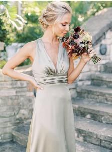 A-Line V-Neck Sleeveless Long Bridesmaid Dress With Belt