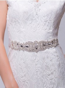 Luxury Satin Sash with Beading and Crystal