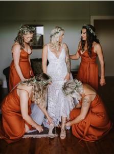 Orange A-Line V-Neck Sleeveless Long Bridesmaid Dress