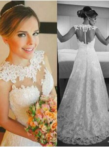 Gorgeous A-line Floor-length Lace Zipper-up Wedding Dress