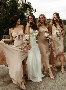 Champagne A-Line V-Neck Sleeveless Long Bridesmaid Dress With Split