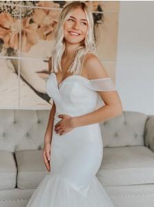 White Mermaid Chiffon Sleeveless Court Train Wedding Dress