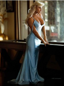Blue Satin Long Prom Dress