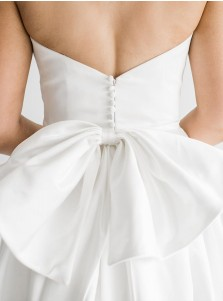 White A-Line Satin Sleeveless Court Train Wedding Dress with Strapless