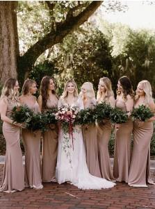 Sheath V-Neck Split Long Bridesmaid Dress With Sleeveless