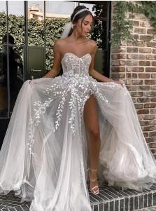 A-Line Sleeveless Sweep Train Chiffon Wedding Dress with Appliques