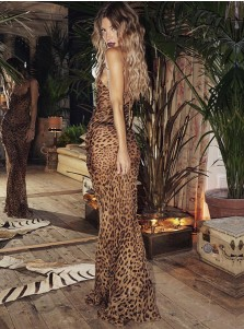 Sheath Long Leopard Dress