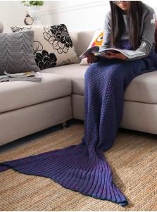 Pure Handmade Wool Knitted Blanket Mermaid Tail Blanket Sofa Blanket (3 Colours)