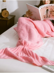 Fashion Crocheted Mermaid Tail Blanket Sofa Blanket Air Conditioning Blanket (4 Colours)