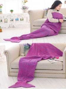 Rose Red Knitted Mermaid Tail Blanket Sofa Blanket