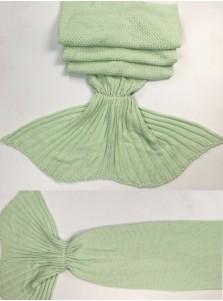 Fashion Knitted Acrylic Stripes Mermaid Tail Blanket Sofa Blanket (6 Colours)