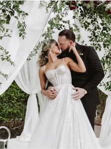 A-Line Chiffon Sleeveless Sweep Train Wedding Dress with Sequins
