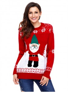 Red Crew Neck Santa Printed Christmas Women's Oversize Sweaters