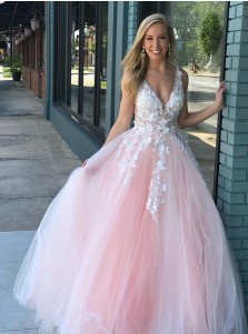 A-Line V-Neck Floor Length Pearl Pink Tulle Prom Dress with Appliques