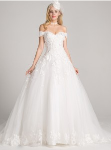 Ball Gown Off-the-Shoulder Court Train Tulle Appliques Wedding Dress