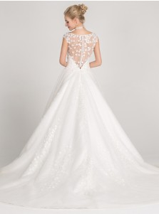 Ball Gown Bateau Cap Sleeves Tulle Wedding Dress with Beading Appliques