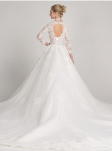 Ball Gown Round Neck Tulle Appliques Wedding Dress Open Back