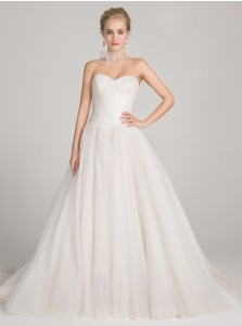 Ball Gown Sweetheart Court Train Tulle Wedding Dress with Sequins