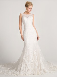 Mermaid Bateau Sweep Train Lace Wedding Dress with Beading Appliques