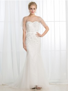 Mermaid Illusion Bateau Short Sleeves Tulle Wedding Dress with Sequins