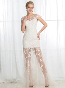Sheath Bateau Cap Sleeves Floor-Length Tulle Wedding Dress with Appliques