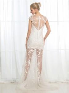 Sheath Bateau Cap Sleeves Floor-Length Tulle Wedding Dress with Appliques