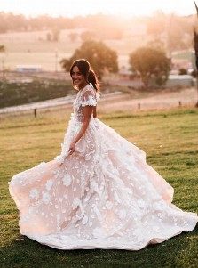 A-line V-Neck Cap Sleeves Sweep Train Wedding Dress with Appliques