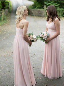 A-Line V-Neck Sleeveless Long Bridesmaid Dress With Zipper-up