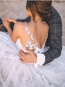 A-Line Sleeveless Chiffon Sweep Train Wedding Dress with Appliques