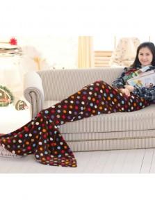 Soft Dot Brown Sofa Leisure Blanket Mermaid Tail Blanket