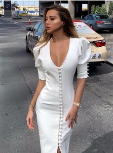 Sheath Elegant White Dress with Sleeves