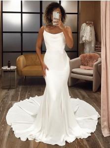 Whtie Mermaid Satin Sleeveless Wedding Dress with Sweep Train
