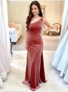 Sheath One Shoulder Sleeveless Long Bridesmaid Dress With Split