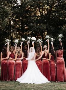 Sheath Jewel Sleeveless Long Bridesmaid Dress