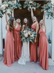 Red A-Line V-Neck Sleeveless Long Bridesmaid Dress