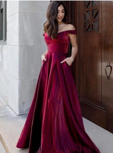 Burgundy A-Line Long Prom Dress