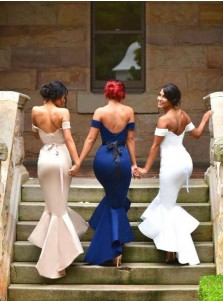Sexy Women's  Mermaid Off-the-Shoulder Prom Dress/Bridesmaid Dress