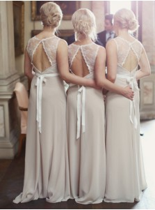 Elegant Grey Long Chiffon Bridesmaid Dress - Open Back Sash Lace Top