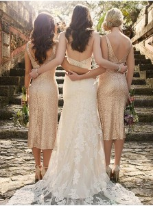 Sexy V-neck Gold Sequins Mid-calf Bridesmaid Dress/Wedding Party Dress