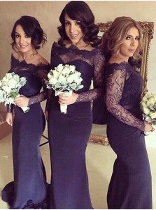 Glamorous Mermaid Sweep Train Long Sleeves Dark Navy Bridesmaid Dress with Lace Sash