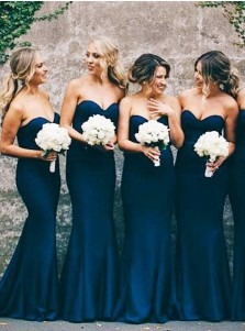 Mermaid Sweetheart Navy Blue Stretch Satin Sweep Train Bridesmaid Dress