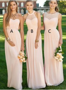 Elegant Bateau Sleeveless Floor-Length Pink Bridesmaid Dress Ruched with Lace