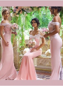 Elegant Court Train Off-the-shoulder Open Back Mermaid Pink Bridesmaid Dress with Lace
