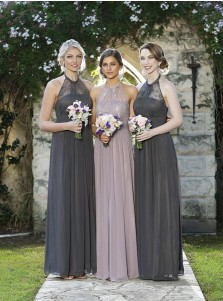 Generous Halter Floor-Length Grey Bridesmaid Dress with Lace Pleats