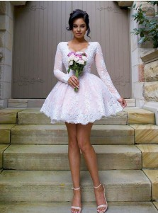 Nectarean V-neck Long Sleeves Short Pink Ball Gown Bridesmaid Dress with White Lace