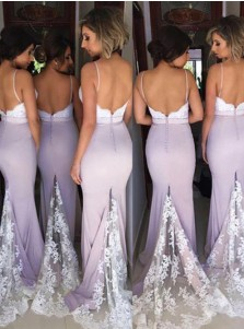 Mermaid Spaghetti Straps Lavender Elastic Satin Bridesmaid Dress with Lace