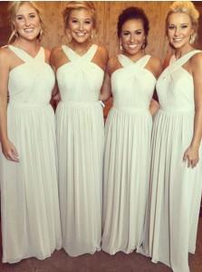Stylish V-neck Floor-Length Ivory Chiffon Bridesmaid Dress Ruched