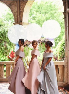 Special Off Shoulder Lapel Hi-Low Pink Bridesmaid Dress Ruched with Sash